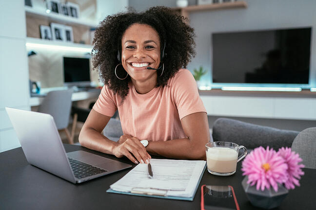 Woman working remote